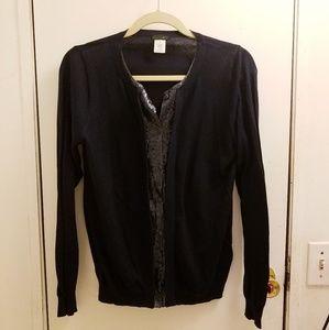 J. Crew Size M Black Faux Layered cardigan